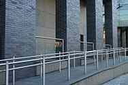 Stainless steel double handrail supported by stainless steel tubular posts