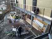 Installation of balustrade on balcony